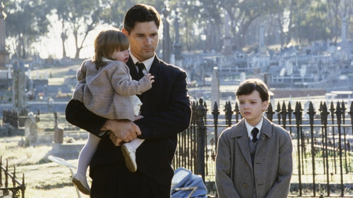 Eric Bana, Kodi Smit-McPhee and Maddison Gargiulo in a scene from Romulus, My Father