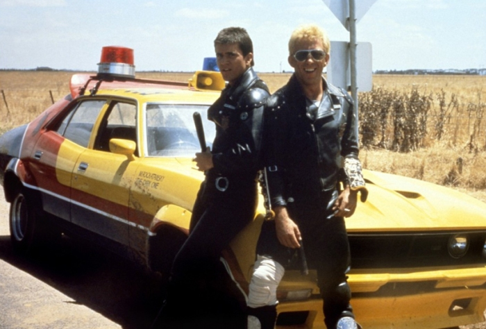 Mel Gibson and Steve Bisley on the set of Mad Max.