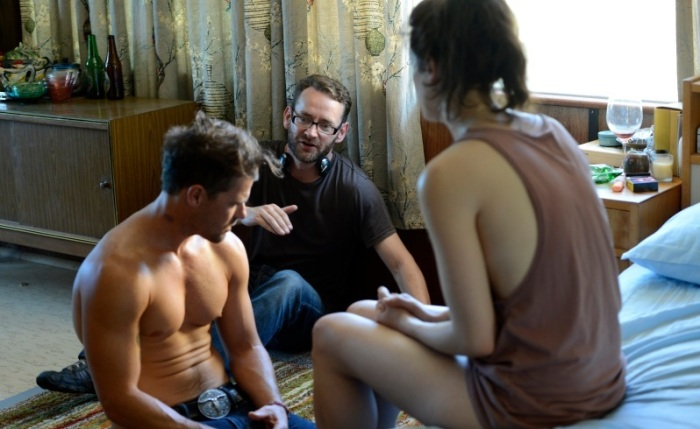 Director Zak Hilditch on set with his stars.