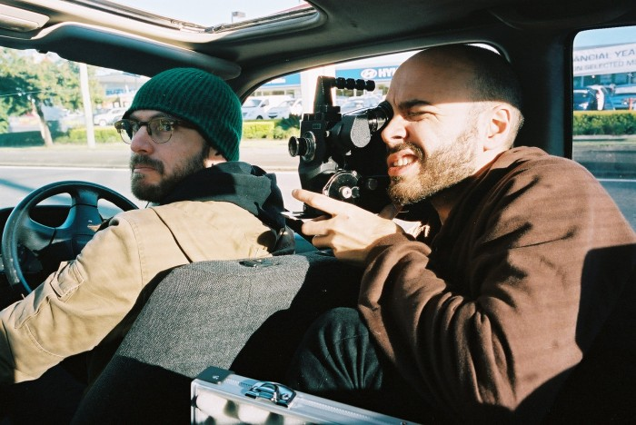 DoP Jerry and editor Denny. Driving up and down the Magic Mile was a lot of fun, although shooting in a car is pretty complicated (to me)! We're in Caitlin Franzmann's charming car with charming sunroof. Caitlin is an artist and sometimes collaborator.