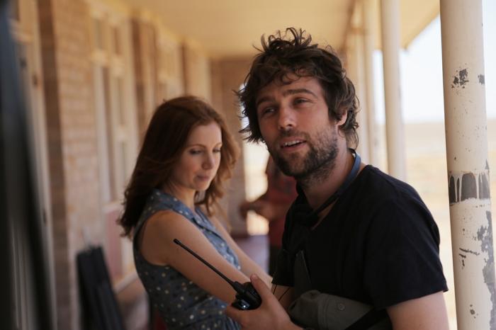 Director Hugh Sullivan on set with Hannah Marshall. (Photo by Brendan Cain)
