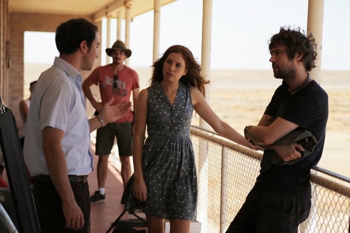 Director Hugh Sullivan with Josh McConville and Hannah Marshall. (Photo by Brendan Cain)
