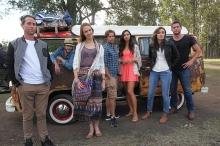 The main gang of Red Billabong. R L Ben Chisholm, James Straiton, Emily Joy, Tim Pocock, Jessica Green, Sophie Don and Dan Ewing