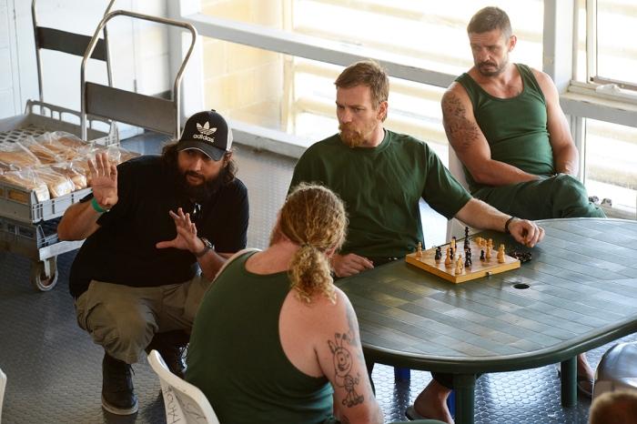 Director Julius Avery with Eddie Baroo, Ewan McGregor and Matt Nable on the set of Son of a Gun.