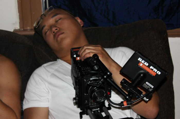 Cinematographer Binh Phan asleep on my couch after a long shoot day.