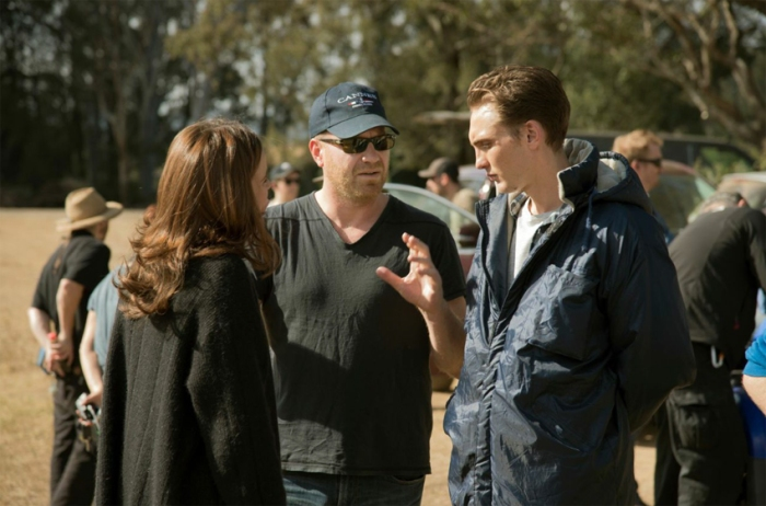Eamon Farren on set with director Jim Lounsbury and costar Clair van der Boom.