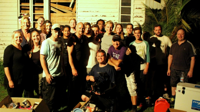 Ashley Pardey with his cast and crew for their wrap photo.