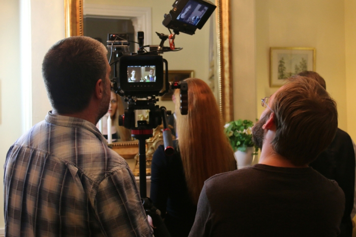 Another scene in the making, with me on the right and my DOP, Rob Greaves on the left.