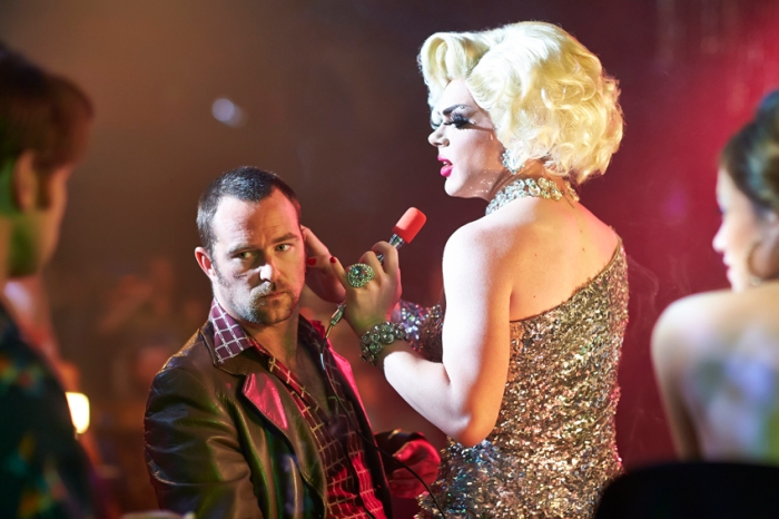 Pommie (Sullivan Stapleton) and Drag Artiste (Jack Daye) in a Cut Snake.