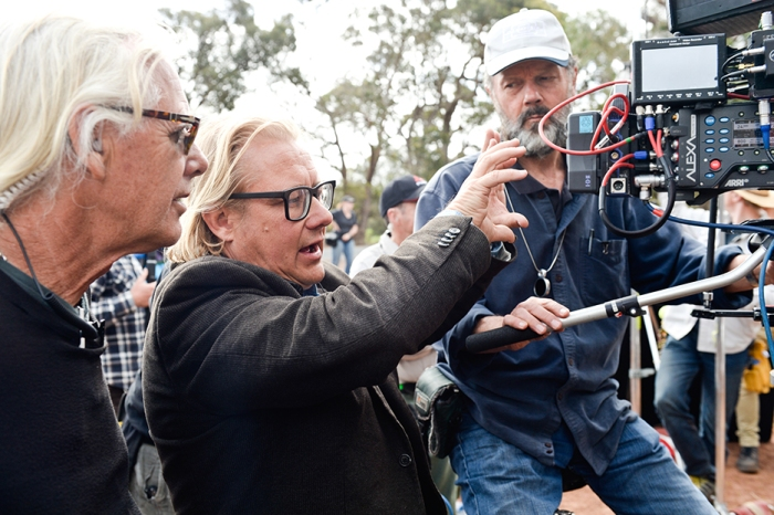 Kriv Stenders, Jamie Crooks & Geoffrey Simpson on the set of KILL ME THREE TIMES. (Photograph by David Dare Parker.)