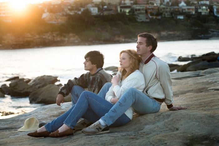 John Caleo (Craig Stott), Pepe Trevor (Sarah Snook) and Tim Conigrave (Ryan Corr)