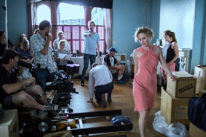 Andrew Kotatko directs Radha Mitchell and Jean-Marc Barr onset (Photo - Mark Rogers)