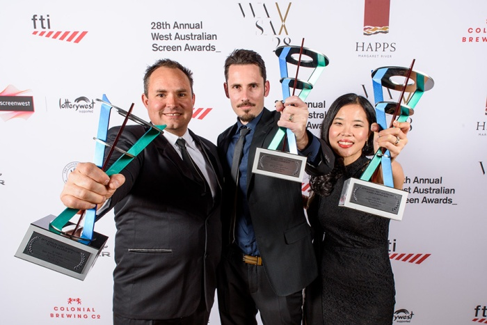 Flushed took out three awards. L-R actor Mike Djukic, director Richard Eames and art director Helena Tay Eames.