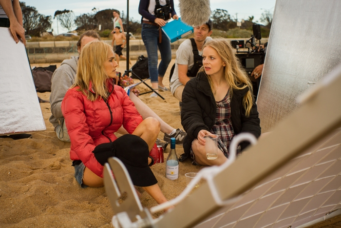 Isabel Lucas and Alice Foulcher working on a scene in That's Not Me. Photo by Ryan Alexander-Lloyd.