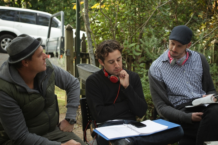 Cinematographer Andre Deubel, Director Kane Guglielmi and Screenwriter John Ratchford on the set of Cooped Up.