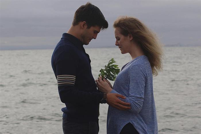 Ben (Michael Maxwell Loder) and Lizzie (Jem Nicholas) talk about having children
