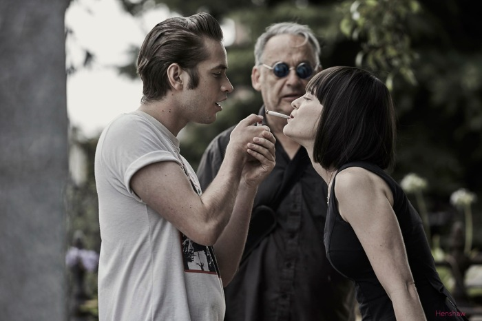 Director Robert Chuter directing Guillym Davenport and Phoebe Jakober in the reefer blowing scene